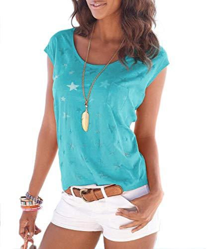 Fleasee Damen T-Shirt Kurzarm Bluse Locker Ärmelloses Top Lässig Sommer Tee mit Allover-Sternen und Anker Druck