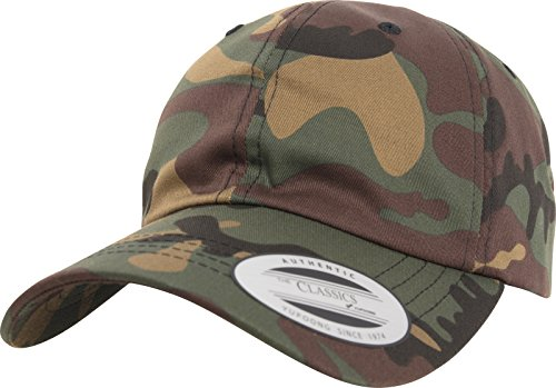 Flexfit Low Profile Cotton Twill Cap, Green Camo, one Size Flex Fit Cap Camouflage