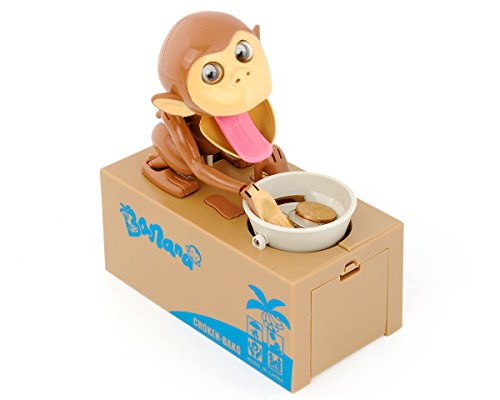 ds. distinctive style DSstyles Hungry Monkey Piggy Bank Caja de Ahorro de Dinero Robando Moneda Munching Juguete, Ideal Regalo de Cumpleaños Ideal para Niños
