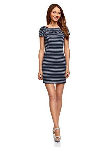 oodji Ultra Damen Enges Jersey-Kleid, Blau, DE 34 / EU 36 / XS - Weiß Stoff Und Blau Gestreiften