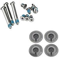Acenix® Lote de 4 tapas de goma + juego de tornillos (3 de largos y 7 cortos) para MacBook Pro A1278, A1286 y A1297 de 13, 15 y 17 pulgadas (incluye paño limpiador)