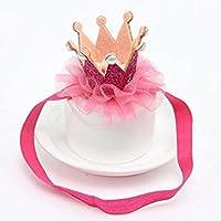 AJOYCN - Diadema de encaje para fiesta de cumpleaños, diseño de flores, color rosa