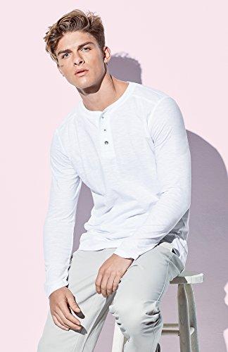Original Stedman® Premium Henley-Langarmshirt mit Knöpfen für Herren; aus weichem Flamm-Garn (Slub-Garn) White