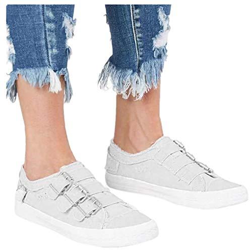 Dorical Unisex Damen Herren Canvas Sneaker Low Übergrößen mit Metallschnalle,Slip-on Roundtip Flache Vintage Schuhe aus Gummi Größe 35-43 Reduziert(Weiß,42 EU) -