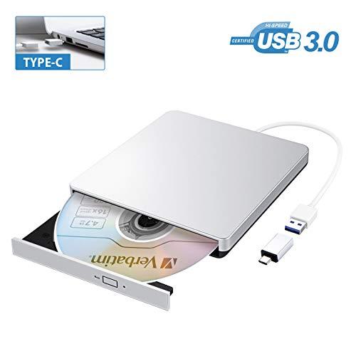 TOPELEK Masterizzatore Dvd CD Esterno, unità Dvd Esterna USB 3.0 con Adattatore di Tipo-C, Lettore di Schede Portatile per Win 10/8/7/XP/Vista/Linux/Mac OS, Argento