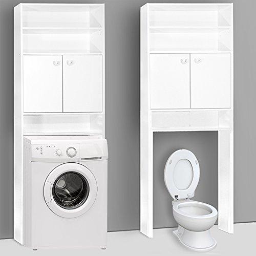 #Deuba Badezimmerschrank für Waschmaschine Waschmaschinenschrank – Badschrank Badhochschrank Badregal – 195 x 63 x 20 cm – Farbe: weiß#