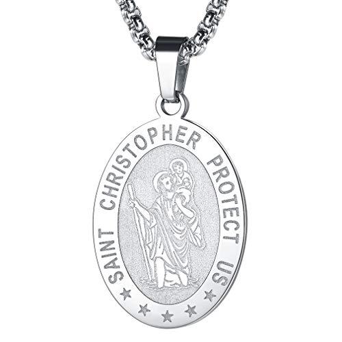 FaithHeart St. Christophorus Plakette, feinversilbert Anhänger mit Lange Halskette, Amulette Kette für Auto Kinder