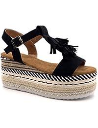2a2377bfb7f188 Angkorly - Scarpe Moda Sandali Espadrillas Vintage/retrò Zeppe Spiaggia  Donna Frange Righe con Paglia