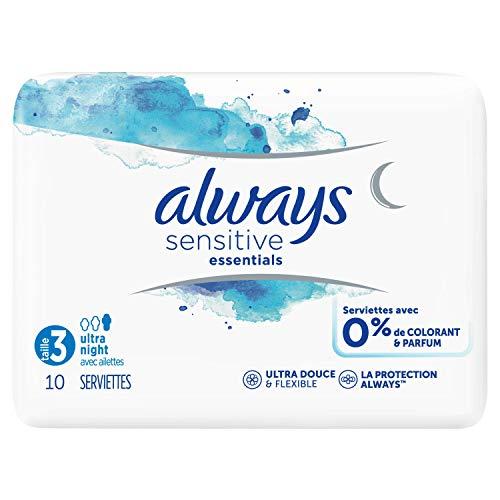 Always Sensitive Essentials Night T3plumas Compresas