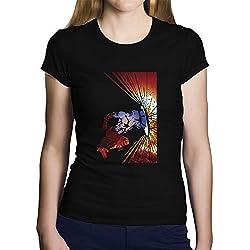 OKAPY Camiseta Capitan America. Una Camiseta de Mujer con Capitan America con su Escudo. Camiseta Friki de Color Negra