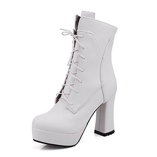 AgooLar Damen Hoher Absatz Rund Zehe Blend-Materialien Schnüren Stiefel Weiß