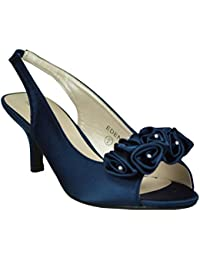 9393e37c728a Chic Feet Womens Satin Prom Wedding Bridal Sandals Ladies Peep Toe Low Heel  Party Shoes