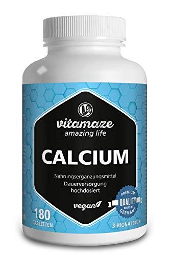Calcium Tabletten hochdosiert, 180 Tabletten VEGAN für 3 Monate, 800 mg Kalzium-Carbonat pro Tagesdosis, Qualitätsprodukt-Made-in-Germany OHNE Magnesiumstearat und 30 Tage kostenlose Rücknahme