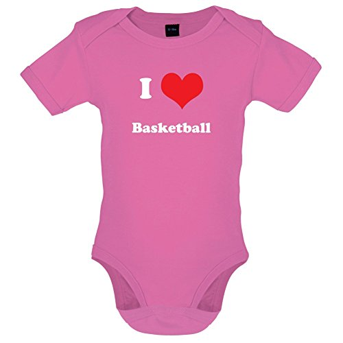 I Love Basketball - Lustiger Baby-Body - Bubble-Gum-Pink - 6 bis 12 Monate