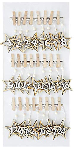 Heitmann Deco Holz Klammern Kinder Adventskalender mit Sternen zum Aufhängen - Weihnachtskalender zum Selber Basteln Machen DIY