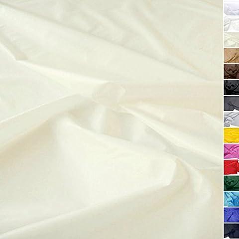 TOLKO® Meterware | Futterstoff / Deko-Stoff zum Nähen - Leicht, Halb-Durchsichtig aus Polyester (Glatte Glanz Creme)