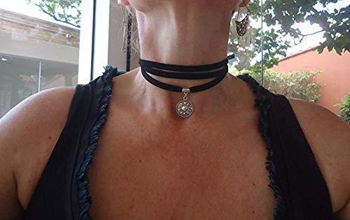 MANDALA SUEDE CHOKER - Gargantilla - wrap collar negro
