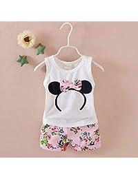 Moda Bambini 1-4 Anni del Gatto Vestito della Maglia + Cute Flowers Stampa  Pantalone Corto per Ragazze Puro Cotone Morbido… c76abef25b80
