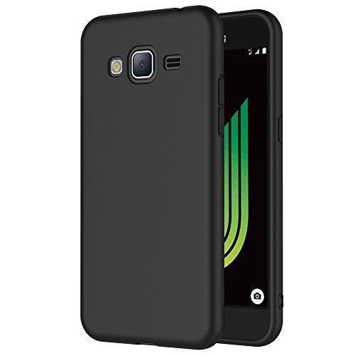 Coque Samsung Galaxy J3 2016, AICEK Noir Silicone Coque pour Galaxy J3 2016 Housse (5,0 Pouces) Noir Silicone Etui Case