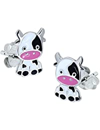 Sterling Silver Cow Earrings, Black and White