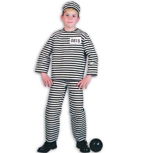 Sträfling 2tlg m Mütze Straefling Gefangener Gefängnis Kinder Kostüm Gr 164 (Verbrecher Kostüm Zubehör)