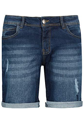 Sublevel Damen Stretch Jeans Bermuda-Shorts I Bequeme Kurze Hose im Used-Look Blue L