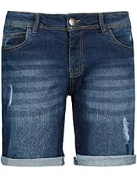 Sublevel Damen Stretch Jeans Bermuda-Shorts I Bequeme Kurze Hose im Used-Look