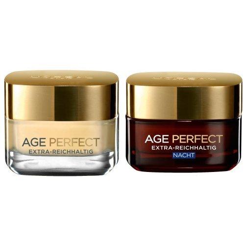 L'Oréal Paris Dermo Expertise Age-Perfect Extra Reichhaltig, 50 ml + L'Oréal Paris Dermo Expertise Age-Perfect Extra-Reichhaltig Nacht, Reparierende Intensivpflege, 50 ml