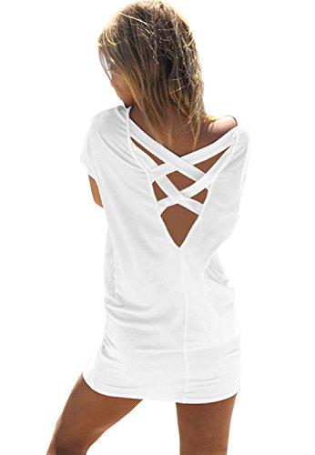 Preisvergleich Produktbild Honeykoko Frauen Casual Sommer Bikini Strandkleid Criss Cross Badeanzug Bademode Badeanzug vertuschen,White XL