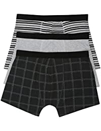M&Co Mens Cotton Rich Stretch Black and Grey Check Stripe Pattern and Plain Trunks Three Pack