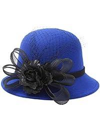 Sombreros Moda Mantener Cálido Sombrero Señoras Elegante Sombrero Sombrero  Floral Pluma Pescador Acogedor Rojo Otoño E fcad8dd27e5