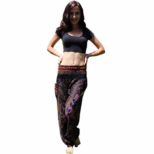 Yoga Hose Damen ❤️• •❤️ LUCKYCAT 2018 Neu Fashion Leggings Männer und Damen Eye Muster Lose Hohe Taille Laterne Yogahosen Leggings (Schwarz, Freie Größe)