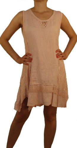 8091 Mesdames, Dames robe, 100% lin, beige, bleu clair, vert, rose, saumon rouge, blanc, taille M, L, XL, XXL. Rose