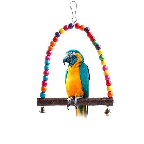 Celan Papageienschaukel aus Holz, für Sittiche, Nymphensittiche, Wellensittiche, Käfig zum Aufhängen