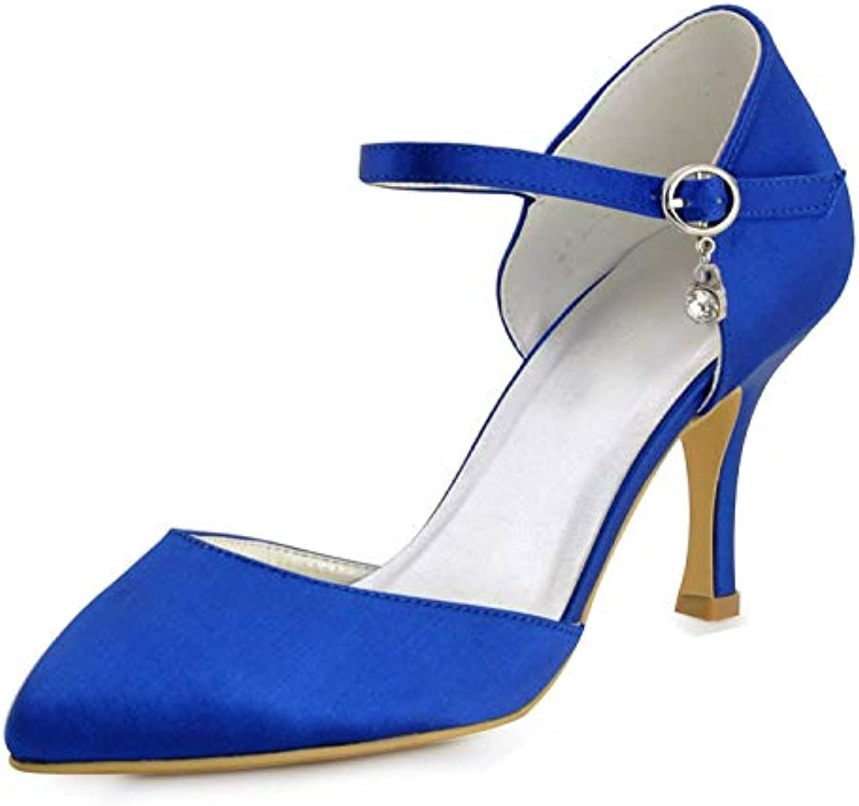 Qiusa Scarpe da Sera da Donna da Sposa in Raso da Sposa Fatte a Mano da Donna (Coloreee   blu-6.5cm Heel, Dimensione... | Alta Qualità  | Sig/Sig Ra Scarpa
