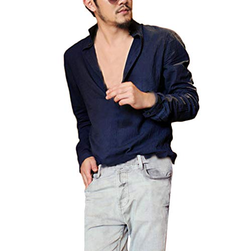 Oliviavan,Herren Langarm Henley Shirt Baumwolle Leinen Strand Yoga Loose Fit Tops Bluse Herren Pullover Basic V-Neck Sweater Slim Große Größe Shirts Mode Blusen Streetwear Sportlich