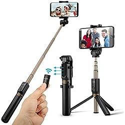Bâton Selfie Bluetooth, BlitzWolf 3 en 1 Perche Selfie Trépied avec Télécommande pour iPhone X/ 8/ 7/ 7 plus/ 6s/ 6, Samsung Galaxy, Android Smartphones 3.5-6''-Selfie Stick Aluminium 360° Rotation