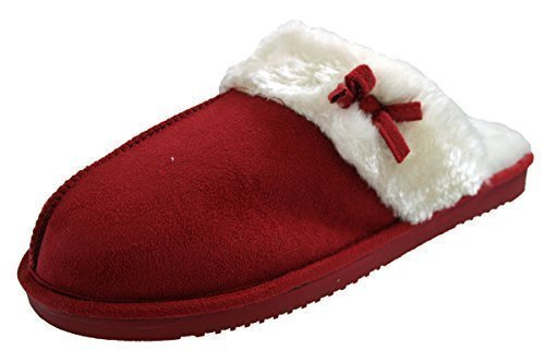 Ladies Ecopelle Scamosciata Furry Sabot Ciabatte Womens Red Misura 7 Rosso