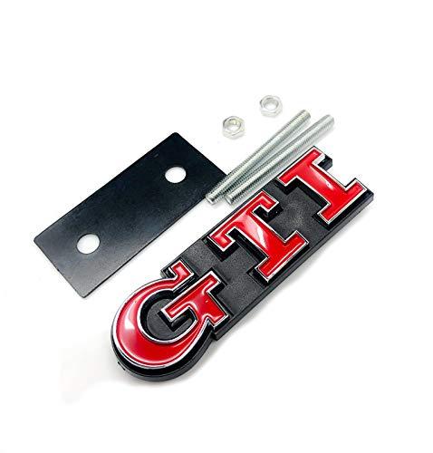Emblema cromado y rojo para capó de parrilla GTI para Golf Polo MK2 MK3 MK4 MK5 MK6 MK7