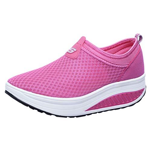 Schuhe Ohne Schnürsenkel Damen Dicke Sohle Wedges Elegant Sneaker Frauen Mesh Atmungsaktiv Outdoor Freizeitschuhe (Golf Schuhe Für Flache Füße)