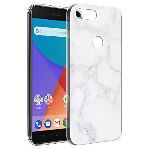 Pnakqil Funda Xiaomi Mi A1, Silicona Transparente con Dibujos Diseño Slim Gel TPU Antigolpes Ultrafina de Protector Piel Case Cover Cárcasa Fundas para Movil Xiaomi MiA1, Marmol Blanca