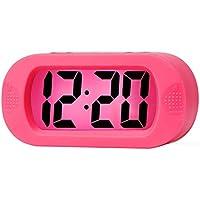 Reloj Despertador Digital de Silicona, Relojes Despertadores Digitales con Función Snooze y Luz Nocturna para Niños Adultos Despertador Silencioso para Mesita Mesa Oficina Hogar (Rosa)