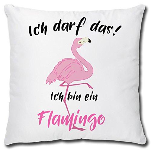 TRIOSK Kissen Flamingo Ich darf Das, Geschenk Frauen Freundin Zierkissen Dekokissen Bezug inkl. Füllung Reißverschluss, Weiß Rosa Pink, 40×40 cm