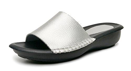 Yooeen Damen Echtes Leder Pantoletten Low Wedge Offene Sandalen Bequeme Flache Hausschuhe Slippers mit Weiche Innensohlen (Low Wedge-flache Schuhe)
