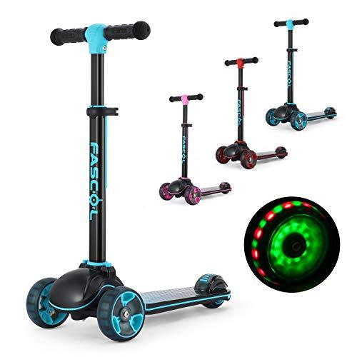 fascol pieghevole monopattino per bambini monopattino 3 ruote per bambino scooter con altezza regolabile e ruote luminose perfetto per bambina 3-12 anni, blu