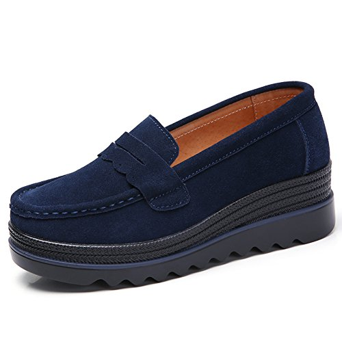 HKR Damen Loafers Slip On Mokassins Plateau Wildleder Schlupf Halbschuhe Sneaker mit Keilabsatz Blau(8775lan38) Mokassin Slip-ons