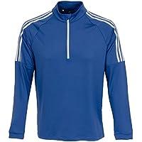 adidas 3-Stripes Quarter-Zip Sweater de Golf, Hombre, Azul, l