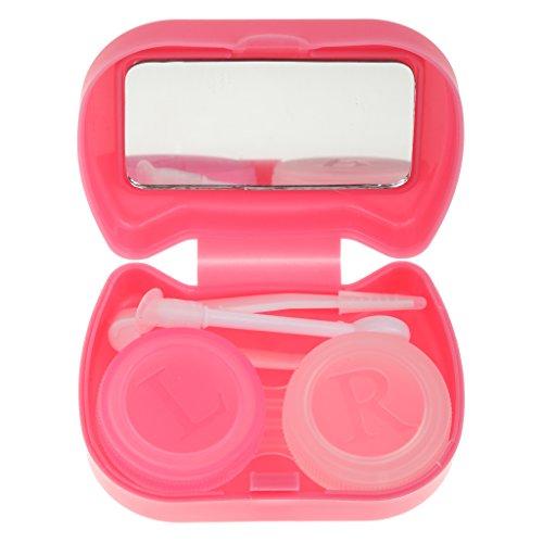 perfk Reise Kontaktlinsenbehälter mit Spiegel und Pinzette Set im Box - Rosarot (Linsenbehälter Spiegel)