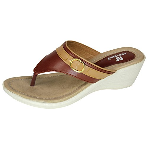 Footshez Women's Tan Wedge Heel Casual Flats  available at amazon for Rs.424
