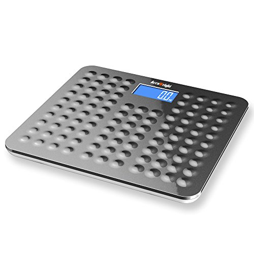 Accuweight Digital Body Weight Bathroom Scale with Step-On Technology, 400lb/180kg Capacity, Grey